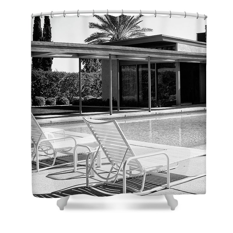 Featured Shower Curtain featuring the photograph Sinatra Pool Bw Palm Springs by William Dey