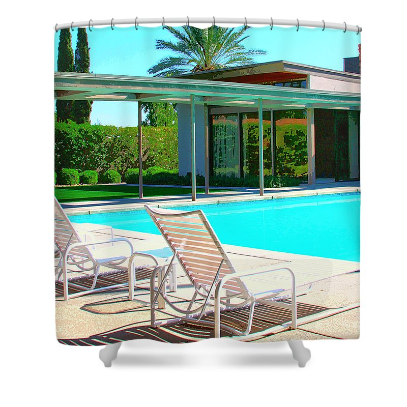 Sinatra House Shower Curtain featuring the photograph Sinatra Pool Palm Springs by William Dey