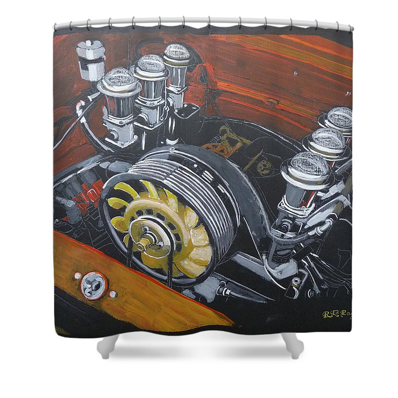 Singer Shower Curtain featuring the painting Singer Porsche Engine by Richard Le Page