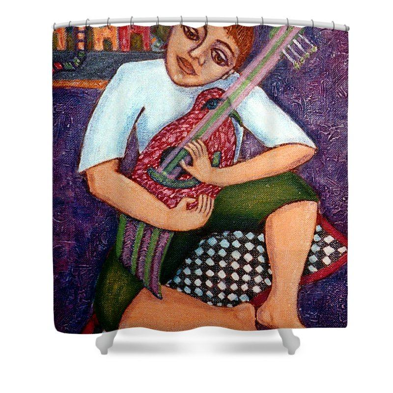 Children Shower Curtain featuring the painting Singing Dreams by Madalena Lobao-Tello