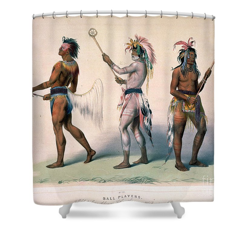 1845 Shower Curtain featuring the drawing Sioux Lacrosse Players by Granger