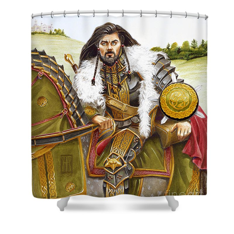 Fine Art Shower Curtain featuring the painting Sir Marhaus by Melissa A Benson