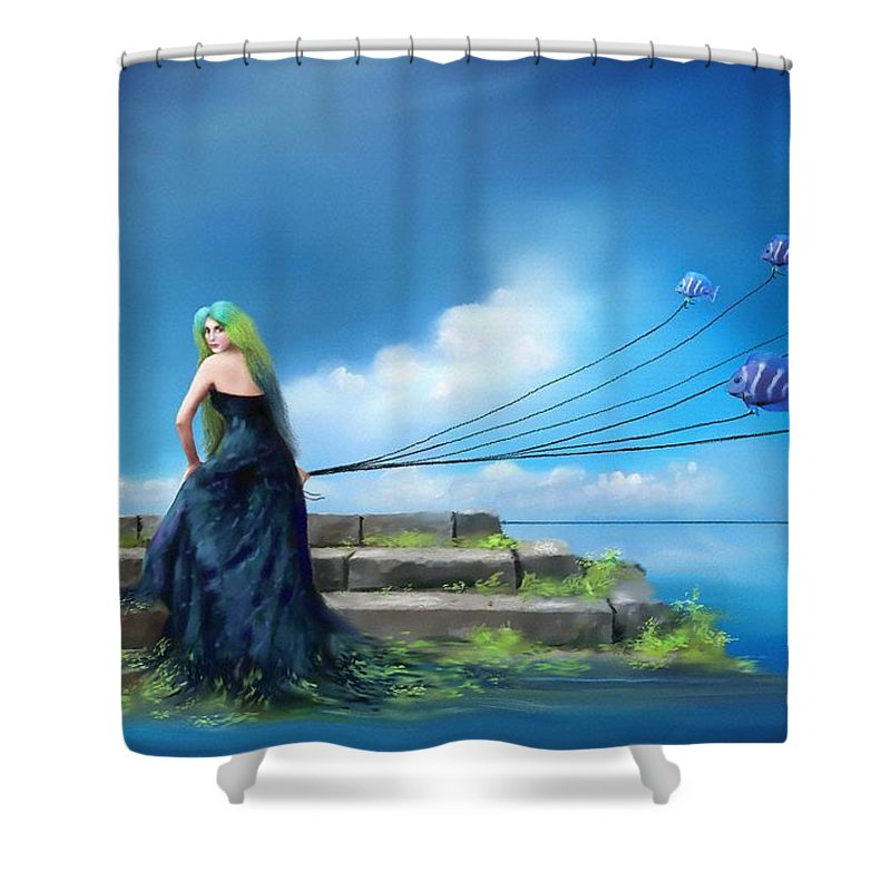Blue Shower Curtain featuring the painting Sirens Lure by Artist ForYou