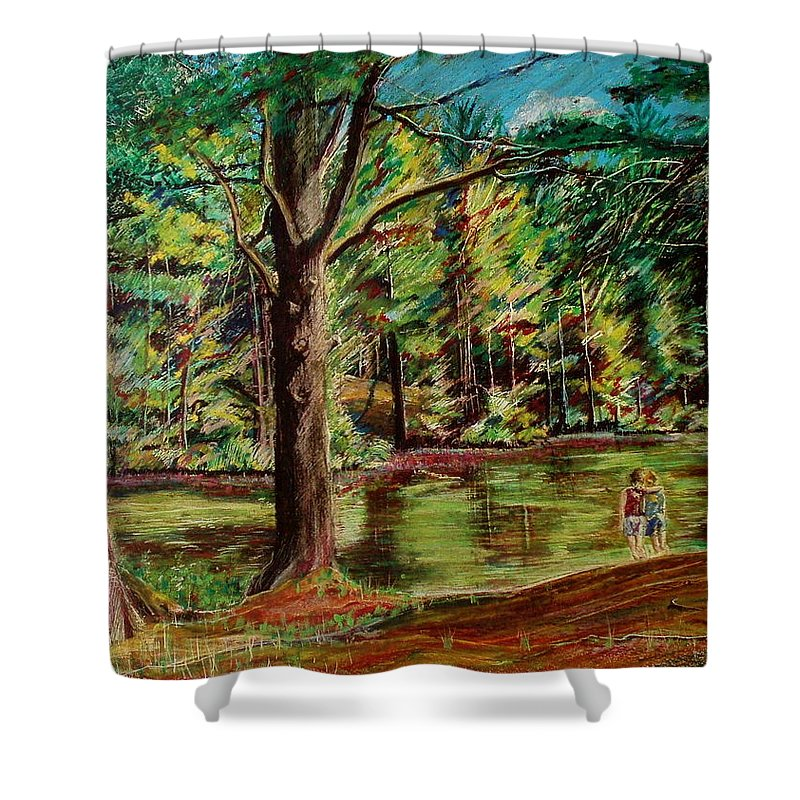 New Hampshire Shower Curtain featuring the pastel Sisters At Wason Pond by Sean Connolly