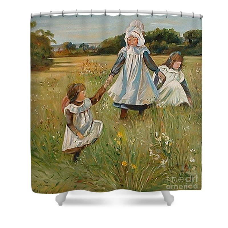 Classic Art Shower Curtain featuring the painting Sisters by Silvana Abel