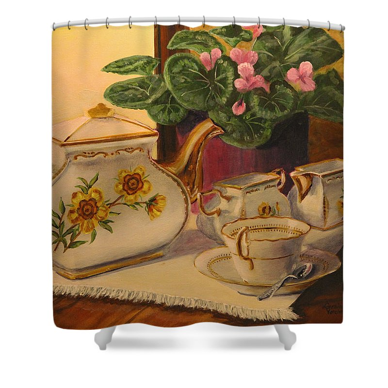 Tea Shower Curtain featuring the painting Sit A Minute by Lorraine Vatcher