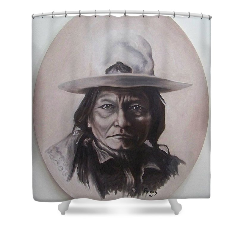 Michael Shower Curtain featuring the painting Sitting Bull by Michael TMAD Finney