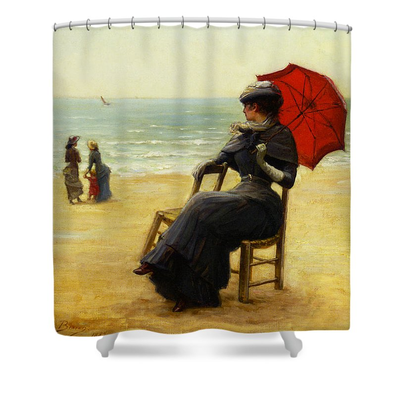 Edouard Bisson Shower Curtain featuring the digital art Sitting By The Sea by Edouard Bisson