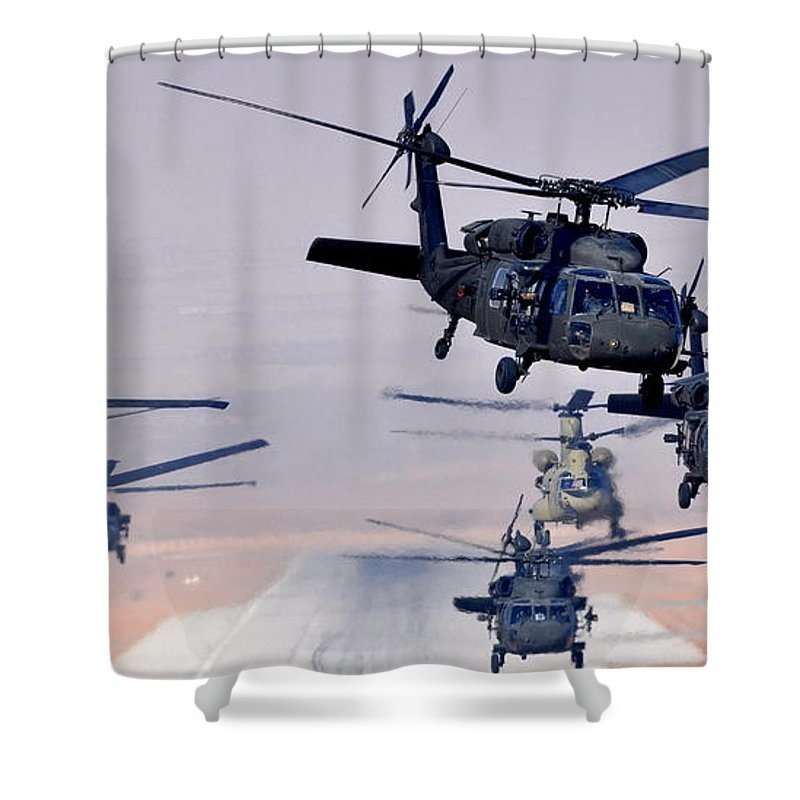 Helicopters Shower Curtain featuring the photograph Six Uh-60l Black Hawks And Two Ch-47f Chinooks by Paul Fearn