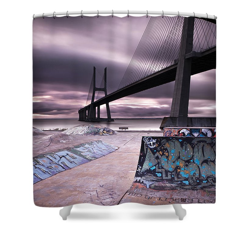 Vasco Da Gama Bridge Shower Curtains