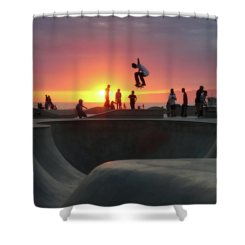 Expertise Shower Curtain featuring the photograph Skateboarding At Venice Beach by Mgs