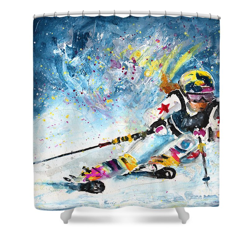 Sports Shower Curtain featuring the painting Skiing 03 by Miki De Goodaboom