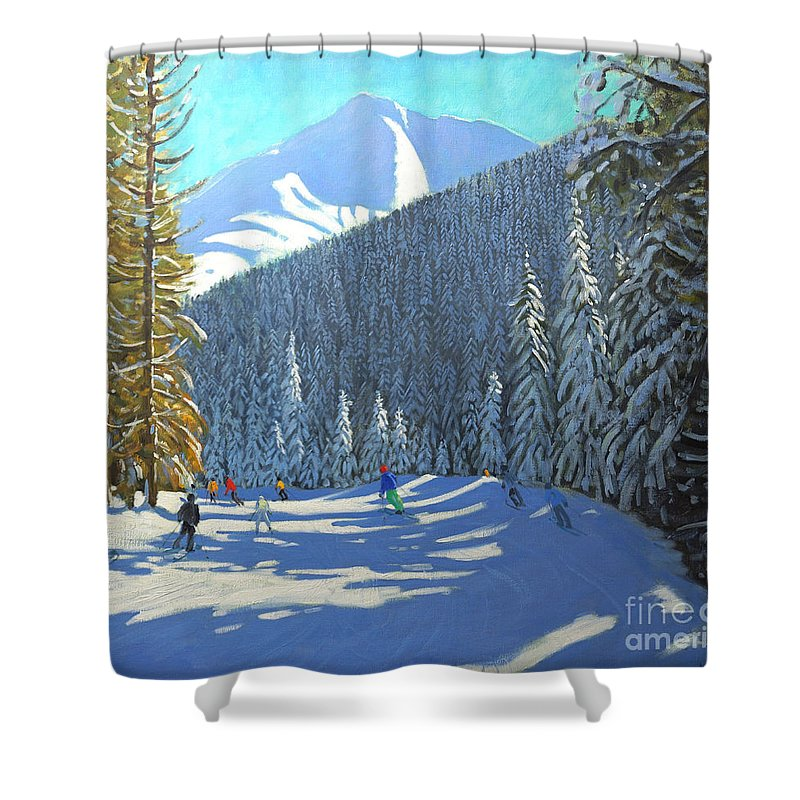 Winter Shower Curtain featuring the painting Skiing Beauregard La Clusaz by Andrew Macara