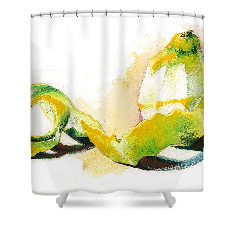 Yellow Shower Curtain featuring the painting Skin.. by Alessandra Andrisani