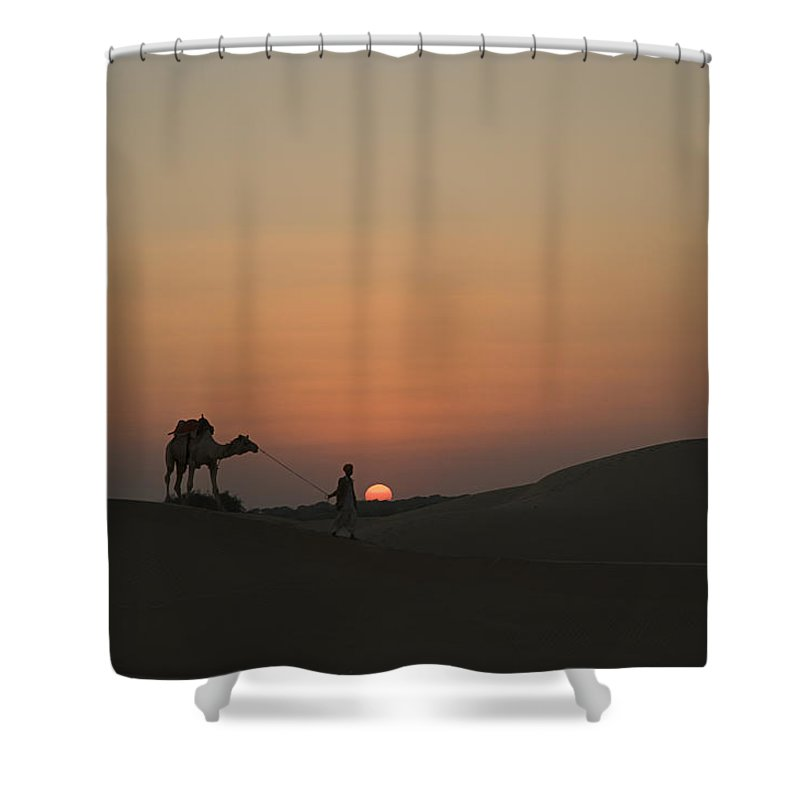 Returning Shower Curtain featuring the photograph Skn 1505 Returning Home by Sunil Kapadia