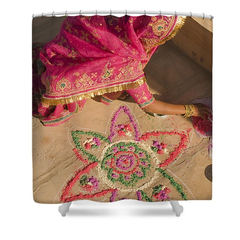 Rangoli Shower Curtain featuring the photograph Skn 1707 Rangoli Designer by Sunil Kapadia