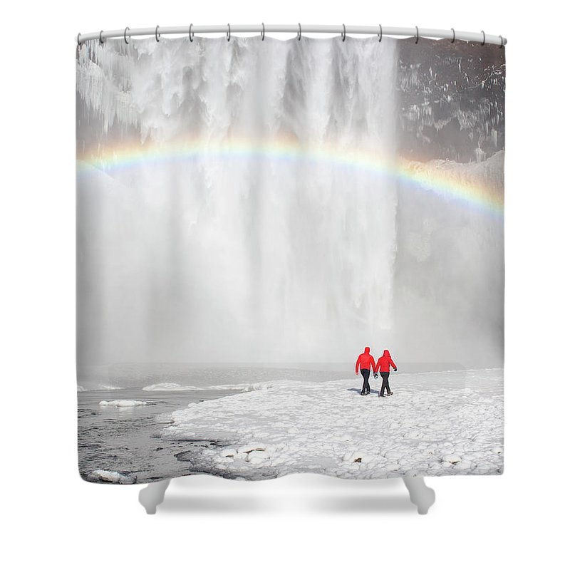 Scenics Shower Curtain featuring the photograph Skogafoss Waterfall, Iceland by Travelpix Ltd