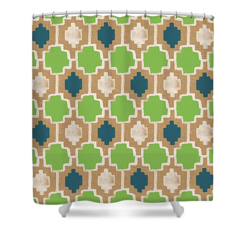 Abstract Pattern Shower Curtain featuring the painting Sky And Sea Tile Pattern by Linda Woods