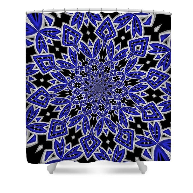 Textile Shower Curtain featuring the digital art Sky Blue 1 by Tatjana Popovska