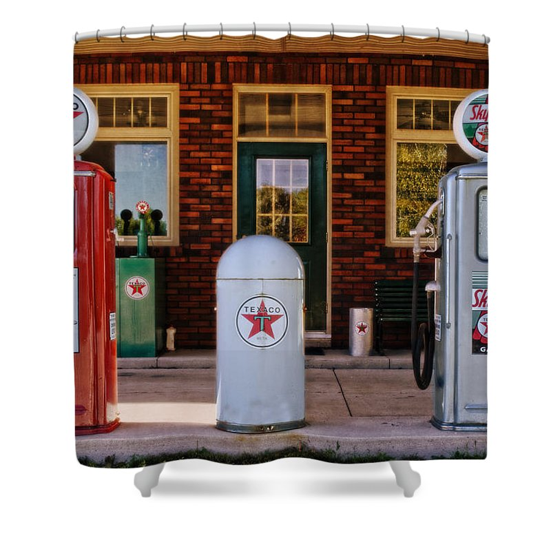 Texaco Shower Curtain featuring the photograph Sky Chief  by Mary Machare
