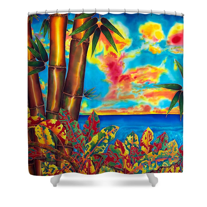 Landscape Shower Curtain featuring the painting Sky Fire by Daniel Jean-Baptiste