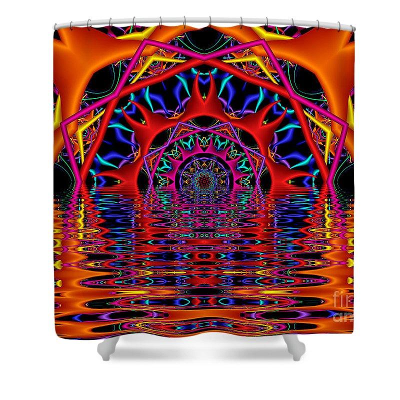 Sky Fire Shower Curtain featuring the digital art Sky Fire by Kimberly Hansen