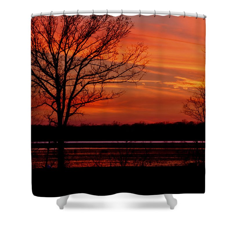 Louisiana Shower Curtain featuring the photograph Sky Fire by Susie Hoffpauir