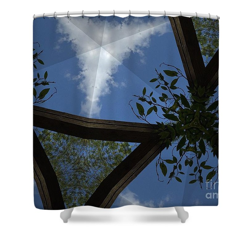 Clouds Shower Curtain featuring the photograph Sky Palace by Donna Spencer