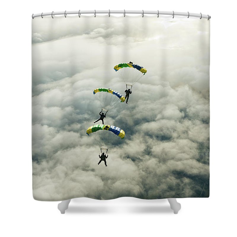 Young Men Shower Curtain featuring the photograph Skydivers In Mid-air by Johner Images