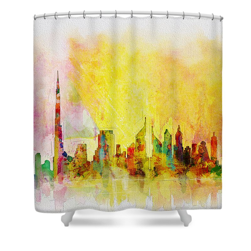 Dubai Shower Curtain featuring the painting Skyline Collage by Corporate Art Task Force