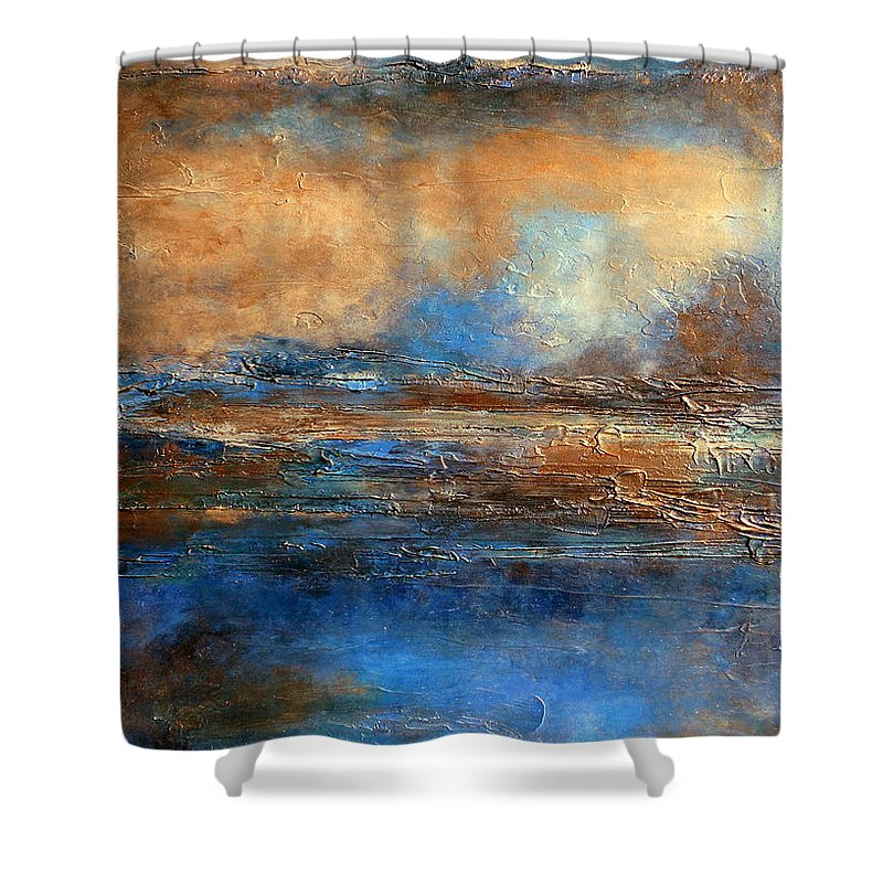 Abstract Painting Blue Shower Curtain Featuring The Skyrim A Heavily Textured Brown And Beige