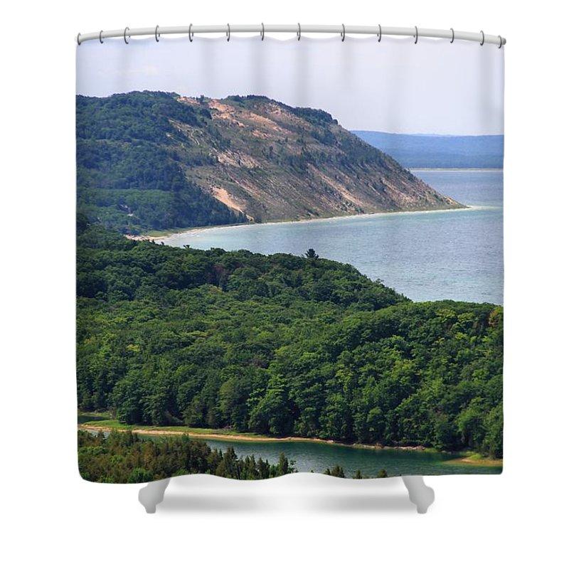 Sleeping Bear Dunes Lakeshore Shower Curtain featuring the photograph Sleeping Bear Dunes Vista by Dan Sproul