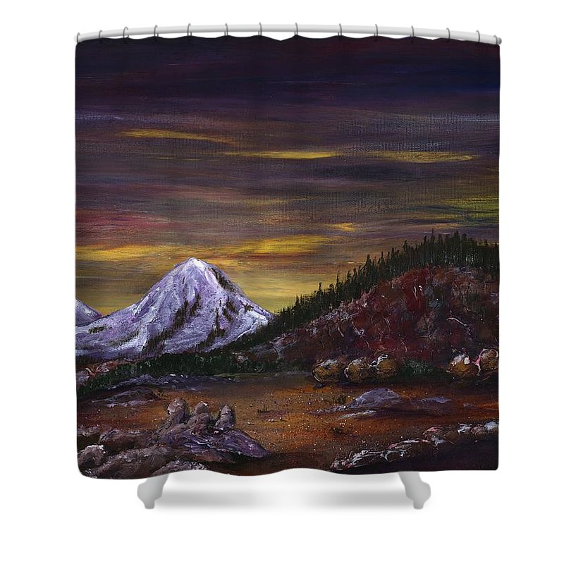 Mountain Shower Curtain featuring the painting Sleeping Dragon by Anastasiya Malakhova