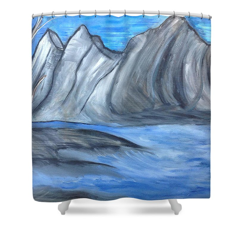 Tree Shower Curtain featuring the painting Sleepy Mountain by Suzanne Surber