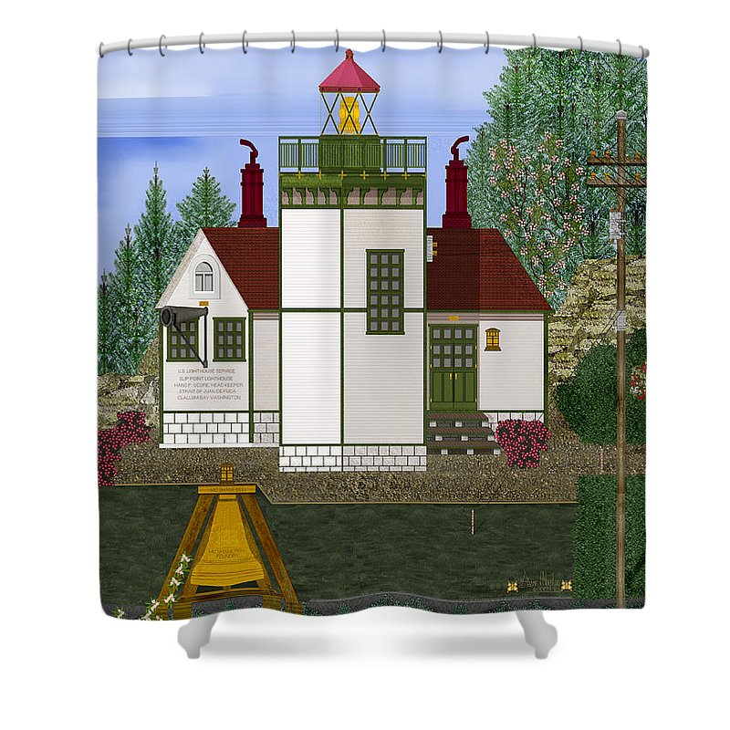 Slip Point Lighthouse Painting Shower Curtain featuring the painting Slip Point Lighthouse Vintage by Anne Norskog