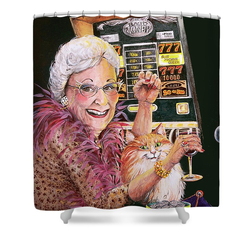 Slot Machine Shower Curtain featuring the painting Slot Machine Queen by Shelly Wilkerson