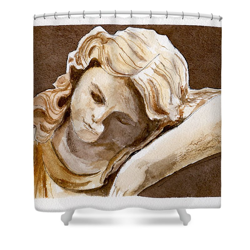 Watercolor Shower Curtain featuring the painting Slumber by Brenda Owen