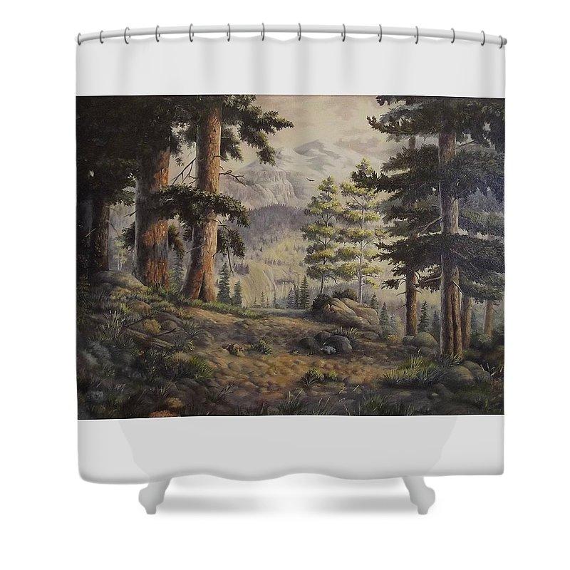 Slumgullian Mountain Colo. Shower Curtain featuring the painting Slumgullian Pass by Wanda Dansereau