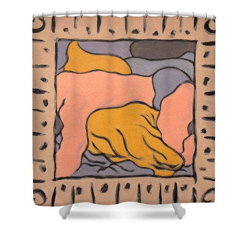 male Nude Shower Curtain featuring the painting Small Framed Bedscape One Am by Stan Magnan