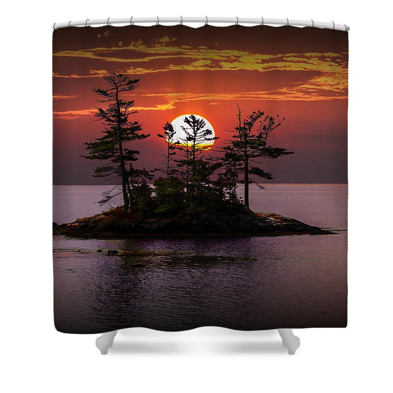Art Shower Curtain featuring the photograph Small Island At Sunset by Randall Nyhof