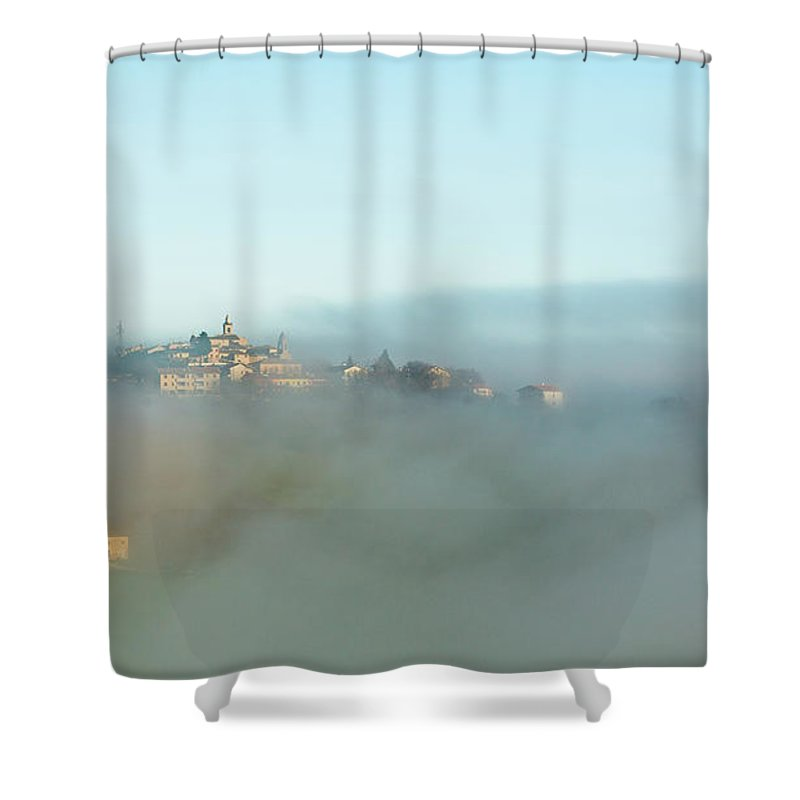 Scenics Shower Curtain featuring the photograph Small Italian Village In The Fog by Deimagine