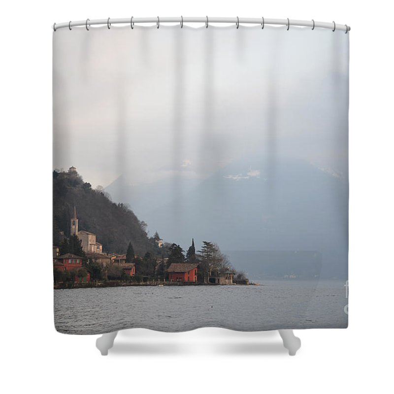 Village Shower Curtain featuring the photograph Small Village On The Lakfront by Mats Silvan