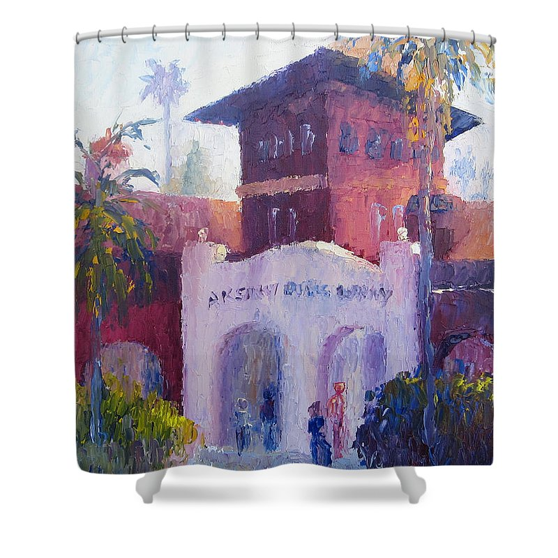 Smiley Library Shower Curtain featuring the painting Smiley Library People by Terry Chacon