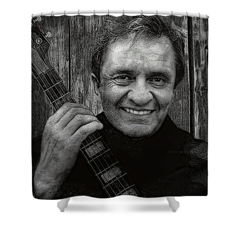 johnny Cash Shower Curtain featuring the digital art Smiling Johnny Cash by Daniel Hagerman