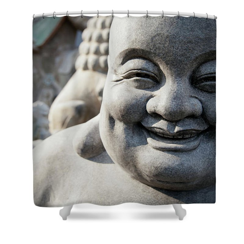 Chinese Culture Shower Curtain featuring the photograph Smiling Stone Buddha Statue by Blake Kent / Design Pics