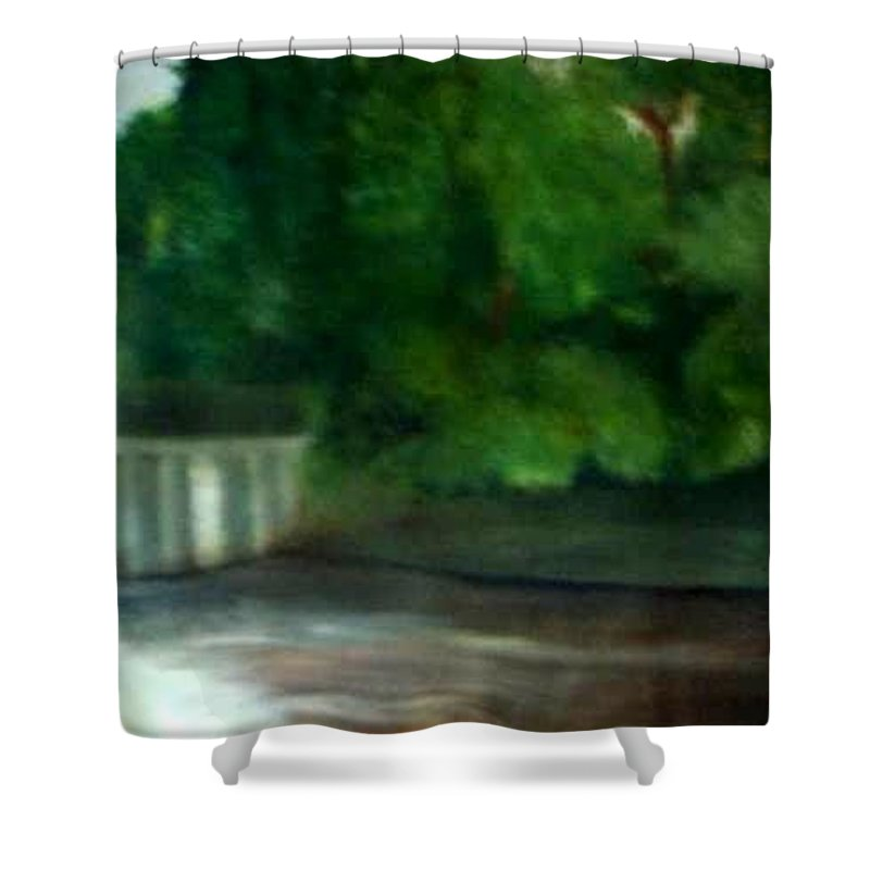 Smithville Park Shower Curtain featuring the painting Smithville Park Dam by Sheila Mashaw