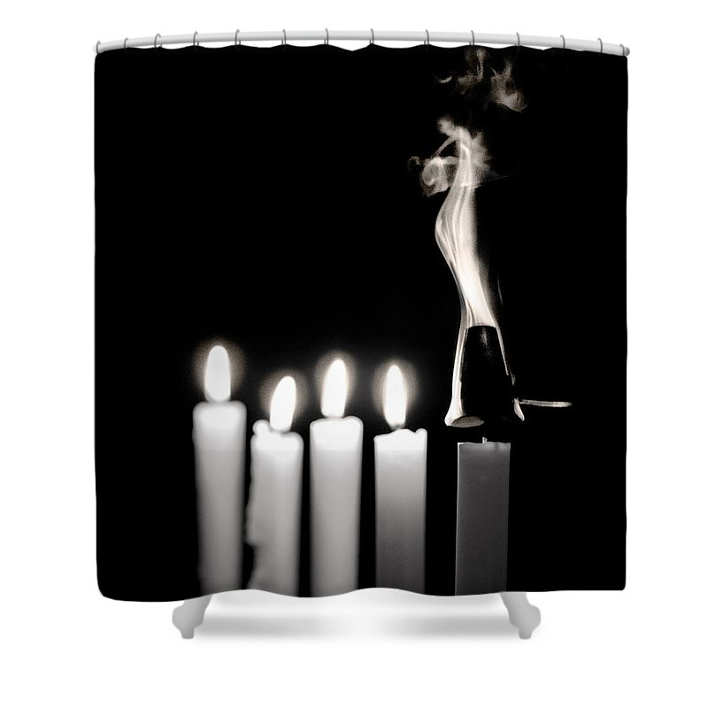 Candle Shower Curtain featuring the photograph Smoke And Flames by Ari Salmela