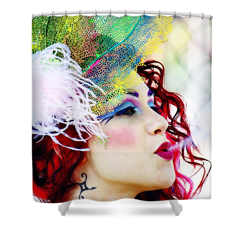 Caucasian Woman Hat Shower Curtain featuring the photograph Smoking Redhead by Nishanth Gopinathan