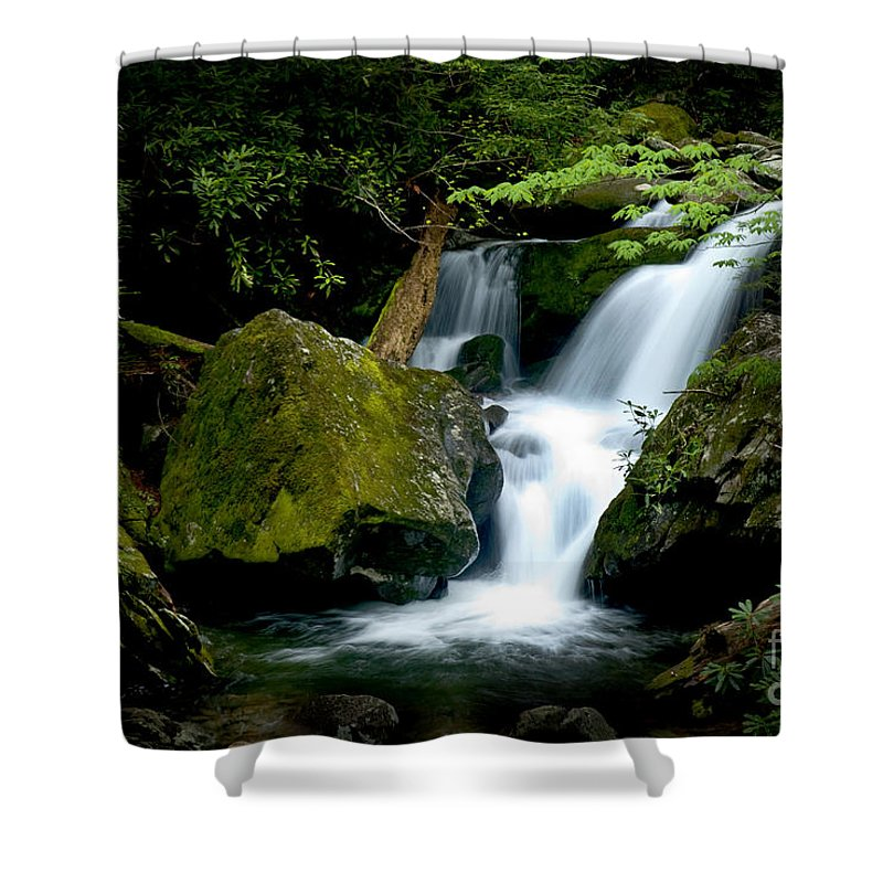 Water Shower Curtain featuring the photograph Smoky Mountain Falls by Paul W Faust - Impressions of Light