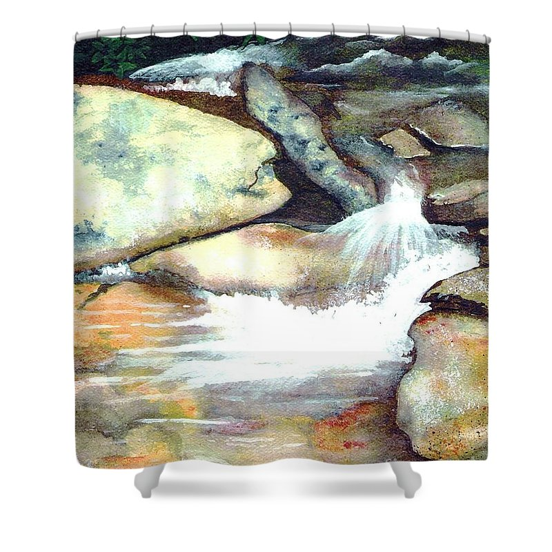 Fine Art Shower Curtain featuring the painting Smoky Mountains Waterfall by Patricia Griffin Brett